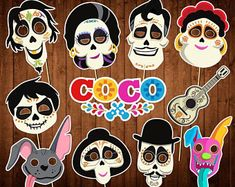 Disney Coco Photo Booth Props - INSTANT DOWNLOAD - Day of the Dead Party - Printable Party Supplies