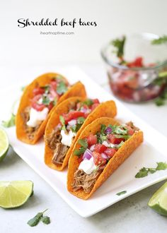 Shredded beef tacos with pico de gallo ...yum! #crockpot #recipe