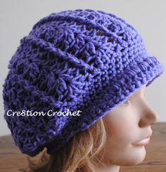 Newsboy Slouch Crochet Hat (Adult Woman's size), free crochet pattern with tutorial from Cre8tion Crochet