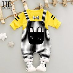 Cheap baby set, Buy Quality baby set boy directly from China overall set Suppliers: WYNNE GADIS Baby's Sets Boys Gentlman Bow Sweatshirt Hoodies + Striped Cat Overalls Trousers Children Kids Clothes Suits Baby Set, Baby Outfits Newborn, Baby Boy Outfits, Pants Outfit, Outfit Sets, Suspender Pants, Kids Suits, Matching Family Outfits, Boy Clothing