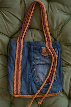 recycling climbing rope & old jeans bag DIY