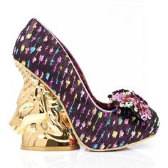 Enter the enchanted kingdom of 'Trixy'. This magnificently magical pair feature purple fabric uppers with multi-coloured detail and a sparkling sequin bow on each toe. With golden unicorns forming the heels, this stunning style are out of this world!