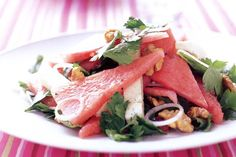Watermelon & feta salad with lemon dressing