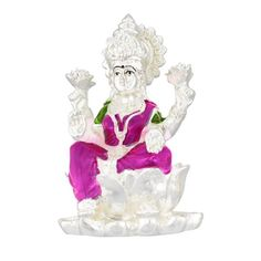 Jpearls Silver Plated Lotus Laxmi Idol | Silver Murtis / Statues of Indian Gods