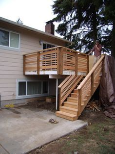 Fall 2009 I removed the existing boards that were rotting and replaced them with 2×6 tight-knot, western red cedar decking. The rebuild included new posts, railings and stairs. I also replace… Horizontal Deck Railing, Deck Stair Railing, Deck Railing Design, Deck Design, Railing Ideas, Railing Planters, Cool Deck, Diy Deck, Cedar Deck