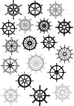 Ship steering wheels in retro style royalty-free stock vector art