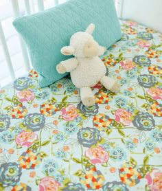 Lilly Belle Garden Rocket Turquoise Baby by ThreeWishesBeddingCo