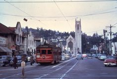"Hollywood in 1952: The Red Car trolley travels south on Highland Boulevard away from Franklin Ave. The neo-Gothic church behind it was built in 1929 and has a wood-beamed ceiling that is a smaller version of the one in Westminster Abbey.    The film was featured in ""What Price Hollywood,"" with Constance Bennett, ""One Foot in Heaven,"" and it is here that ""War of the Worlds."""