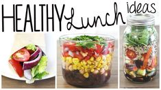 3 Healthy & Easy Lunch Recipes (Vegan & Gluten Free!)  This looks so good! Corn & Bean Salad 1/2 cup rinsed and drained black beans 1/2 cup rinsed and drained garbanzo beans 1 cup of cooked organic corn (look for GMO free!) 1 hand-full of diced red pepper 1 hand-full of diced red onion 1 hand-full of halved cherry tomatoes Cilantro to taste (I obviously like a lot haha) Juice of 1/2 of a lime & a drizzle of balsamic vinegar!