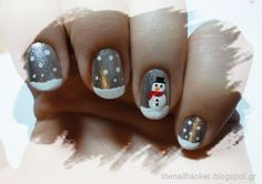 This snowman nail art is the perfect playful manicure for winter holidays. The post is in Greek, but the photos make it easy enough to follow.