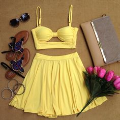Yellow Sweetheart Cutout Bandeau Top Skater Skirt Pairing Dress on Chiq  $17.50 http://www.chiq.com/yellow-sweetheart-cutout-bandeau-top-skater-skirt-pairing-dress