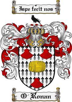 crest ronan Family Crest, Coat Of Arms, Coats, Irish, Tattoo Ideas, Wraps, Irish Language, Coat, Ireland