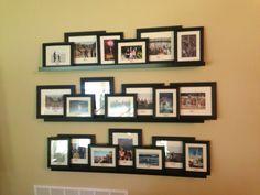 Ikea shelves, vacation photos gallery wall