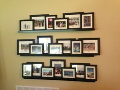 Ikea shelves, vacation photos gallery wall
