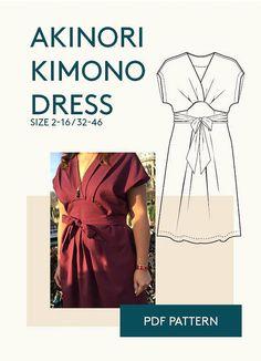 kimono wrap dress PDF pattern jersey dress pattern PDF e book
