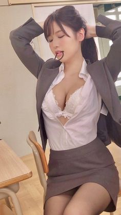 Lingerie asian secretary cute