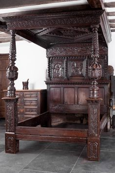 James I oak carved tester bedstead from Exeter, Marhamchurch antiques