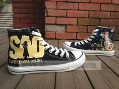 Sword Art Online Anime Shoes High Top Hand Painted Canvas Sneaker for Kids/Adult