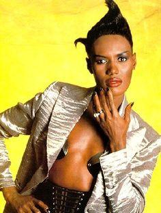 Grace Jones 1980s fashion shot