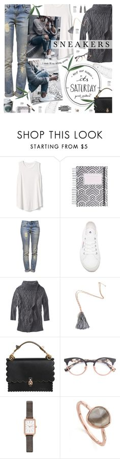 """""""So Fresh; White Sneakers"""" by happilyjynxed ❤ liked on Polyvore featuring Gap, Anine Bing, Superga, prAna, Fendi, Skagen, Monica Vinader, Humble Chic, casual and sneakers"""