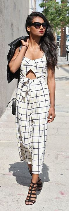 Black And White Grid Jumpsuit                                                                             Source