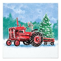 Red Vintage Tractor Christmas Tree Save the Date Card - Xmascards ChristmasEve Christmas Eve Christmas merry xmas family holy kids gifts holidays Santa cards Christmas Photo Cards, Christmas Pictures, Christmas Themes, Holiday Cards, Christmas Crafts, Christmas Eve, Family Gifts, Kids Gifts, Christmas Paper Napkins