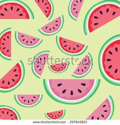 Watermelon illustration pattern on a light green background.| D:297645821 Copyright: Amalia Ferreira Espinoza  watermelon, pattern, vegetarian, slice, fun, tropical, green, sweet, red, scrapbook, summer, drawing, repeat, cute, flat, tasty, healthy, texture, vitamin, design, background, fresh, #illustration #stockimage AFE Images