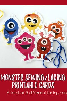 These colorful Monster Sewing Cares are so much fun! Use these cards to keep kids busy and happy at parties, play dates, or anytime! #LacingPrintables #Cards #PrintableCards #Monster #MonsterPrintables #Ministering #MinisteringPrintables #DIYideas #Primary Printable Cards, Printables, Monster Activities, Lacing Cards, Primary Activities, Sewing Lace, Lds Primary, Business For Kids, Elementary Schools