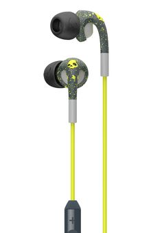My Headphones are kinda broken and fall out when i exercise. Skullcandy Fix Headphones are rated in top 9 exercise headphones because their shape in the ear keeps them from falling out. Like this yellow/gray combo, the white/gray, salmon/gray, and black/snakeskin prints