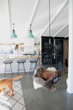 Light and airy, island w/ bar tool seating, chalk wall, barn door, hanging chair, concrete floors: DREEEEEAMSSSS