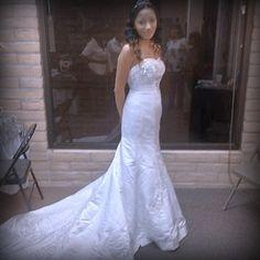 David's Bridal Strapless Mermaid Wedding Dress