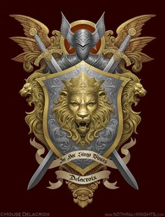 Coat of Arms- Delacroix by GoldenDaniel on DeviantArt Arte Do Hip Hop, Family Shield, Shield Design, Templer, Lion Art, Armor Of God, Knights Templar, Family Crest, Lion Tattoo