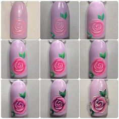 Trendy nails art tutorial step by step rose 55 Ideas Nail Art Fleur, Rose Nail Art, Rose Nails, Flower Nail Art, New Nail Art, Nail Art Techniques, Trendy Nail Art, Nail Art Hacks, Nail Tutorials