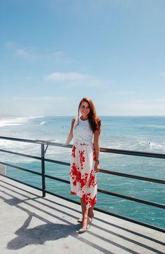 high-low skirt, crop top, huntington beach, california, huntington beach