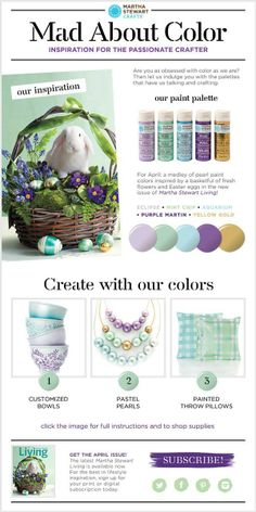 Martha Stewart Crafts Mad About Color April 2014 Palette - click thru for the full tutorial for three inspired projects