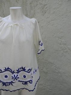 vintage.  60s Cream Cotton Blouse with Blue and by styleforlife, $42.25