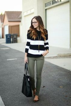bold black + white stripes / olive skinnies / leopard flats // member Merrick of Merrick's Art