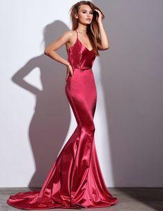 2018 Sexy Mermaid Red Prom Dresses Spaghetti Straps Long Sweep Brush Train Sexy  Prom Dress Evening Dress 3d667ea16226
