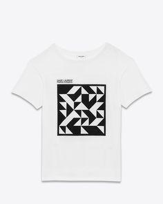 saintlaurent, ビニールTプロジェクト半そでTシャツ(ホワイト&ブラック、コットンジャージ)