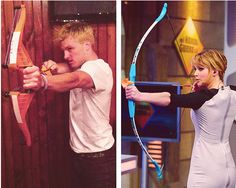 gosh i just love this photo's combined..josh look freaking hot in his blonde hair and aiming arrow while his muscles flex and Jennifer gorgeous as always...