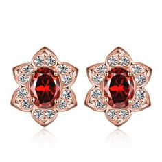 Trendy Titanium Plated Round Crystal Stud Earrings for Women GPSE374