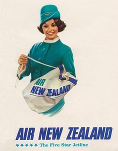 Air New Zealand posters showcase its 75 years in the sky - Telegraph Vintage Advertising Posters, Vintage Travel Posters, Vintage Advertisements, Vintage Airline, Retro Posters, Poster Vintage, Vintage Ads, Air New Zealand, New Zealand Travel