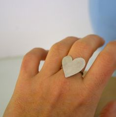 Sterling Silver Valentines Heart Ring by Nafsika on Etsy, $60.00