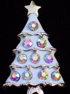 GOLD WHITE ENAMEL AB CLEAR RHINESTONE CHRISTMAS TREE PIN BROOCH PENDANT JEWELRY #Unbranded #PINBROOCHPENDANTJEWELRY