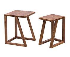 Set de 2 taburetes en madera de sheesham
