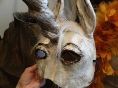 Animal masquerade masks paper mache horse Unicorn by MiesmesaBerni, $58.00