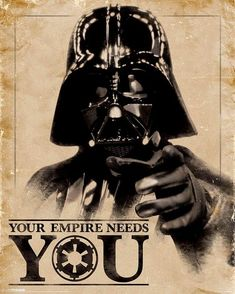 Star Wars - Darth Vader - Your Empire Needs You - Official Poster Star Wars Fan Art, Star Wars Meme, Star Wars Film, Star Wars Dark, Star Trek, Star Wars Poster, Batman Poster, Darth Vader Star Wars, Darth Maul