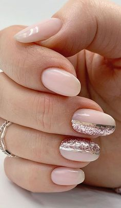 Cute Nail Art Design Ideas With Pretty & Creative Details : Blush pink and rose gold nail design