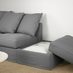 GRÖNLID Sectional, corner - with open end, Ljungen medium gray - IKEA Ektorp Sectional, Grey Sectional, Landskrona Sofa, Storage Footstool, Deep Seat Cushions, Ikea Sofa, Ikea Family, Thing 1, Arredamento
