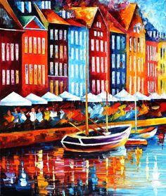 COPENHAGEN - DENMARK - PALETTE KNIFE Oil Painting On Canvas By Leonid Afremov http://afremov.com/COPENHAGEN-DENMARK.html?utm_source=s-pinterest&utm_medium=/afremov_usa&utm_campaign=ADD-YOUR